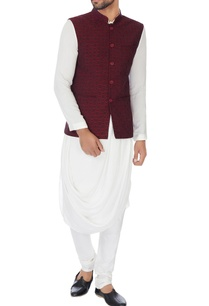 maroon-embroidered-nehru-jacket