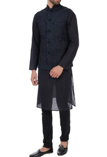black-dori-hand-embroidered-quilted-organic-silk-nehru-jacket