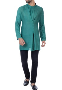 teal-milk-fiber-draped-overlap-kurta