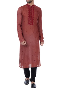 maroon-hand-embroidered-threadwork-milk-fiber-kurta