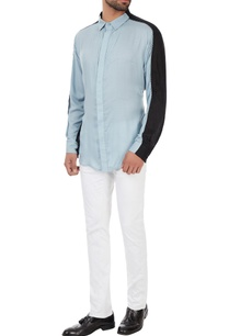black-blue-color-block-collar-shirt