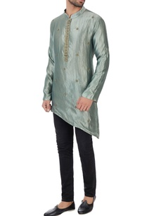 metallic-green-asymmetric-organic-silk-kurta
