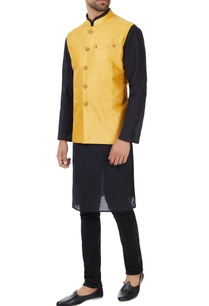 mustard-eco-silk-hand-embroidered-nehru-jacket