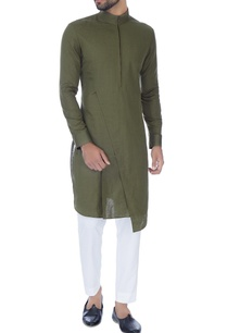 olive-green-zipper-style-paneled-kurta