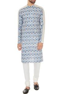 light-grey-cotton-printed-kurta-with-off-white-cotton-lycra-churidar
