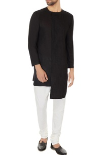 black-cotton-pleated-asymmetric-kurta-with-off-white-cotton-silk-churidar