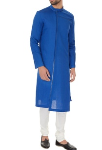 blue-linen-solid-kurta-with-off-white-cotton-lycra-churidar