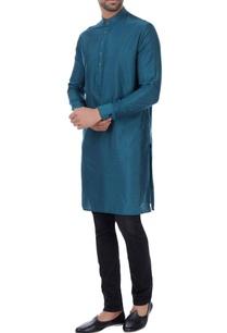 teal-cotton-silk-classic-kurta