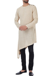 beige-woven-asymmetric-style-linen-jute-kurta