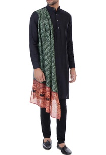 black-kurta-with-printed-draped-layer