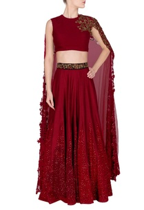 marsala-embroidered-lehenga-with-quilted-crop-top
