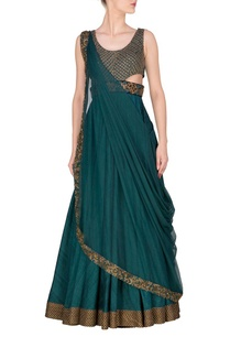 teal-embroidered-anarkali-with-attached-dupatta