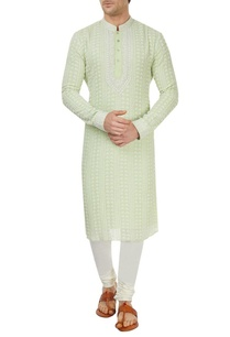 green-and-off-white-kurta-set