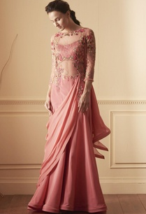 pink-gown-with-draped-trail