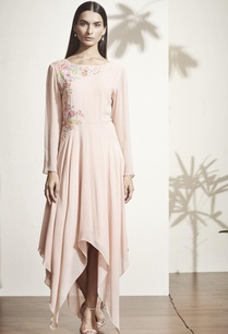 peach-floral-applique-asymmetric-dress
