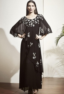 black-embellished-gown-with-flared-sleeves