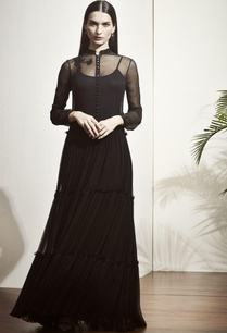 black-a-line-pleated-gown