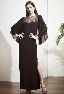 black-gown-with-tiered-ruffle-sleeves