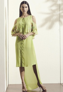 green-embroidered-high-low-dress