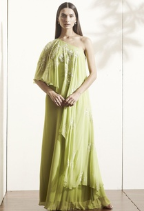 green-one-shoulder-maxi-dress