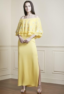 yellow-bardot-off-shoulder-gown