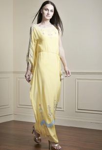 yellow-one-shoulder-kaftan