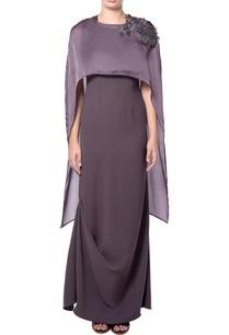 purple-cape-crepe-dress
