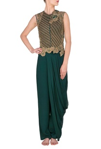 forest-green-embroidered-jacket-with-draped-pants