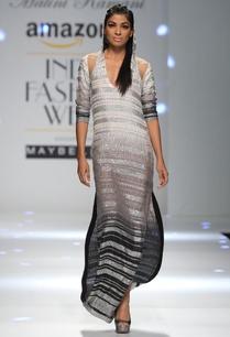 ivory-and-grey-embellished-hoody-dress