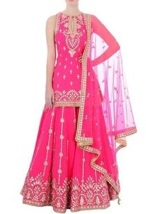 fuchsia-pink-gota-patti-kurta-set