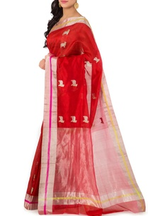 red-silver-nandi-chanderi-sari