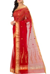 red-polka-chanderi-sari