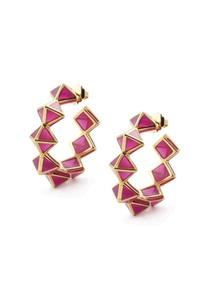pink-pyramid-resin-hoop-earrings