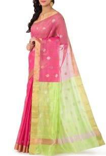 pink-leaf-green-motif-chanderi-sari