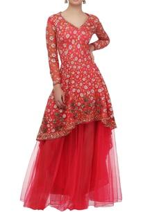 shocking-pink-floral-anarkali-dress