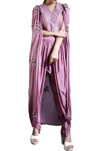 plum-zardosi-work-cape-top-with-dhoti-pants