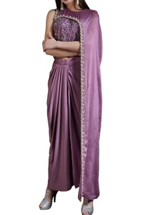 plum-sequined-cape-top-with-drape-skirt