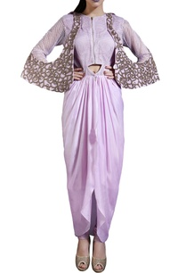 lavender-mesh-detailed-tunic-with-pants