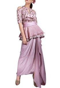 powder-pink-peplum-top-draped-skirt