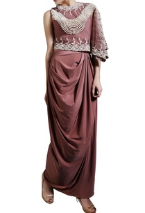 brown-pearl-work-cape-top-with-drape-skirt