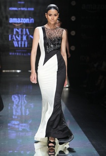 black-cream-overlapping-gown