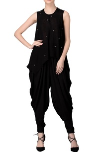 black-sleeveless-mirror-work-tunic