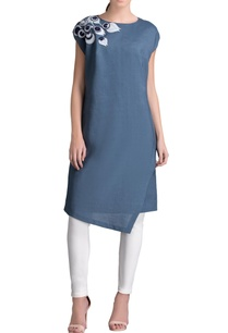 smokey-blue-applique-work-dress