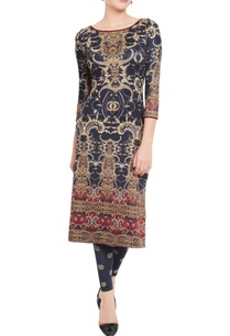 black-maroon-printed-kurta-leggings