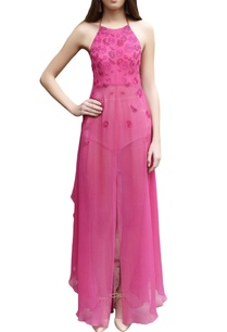 hot-pink-embroidered-halter-maxi-dress