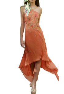 coral-orange-asymmetric-maxi-dress