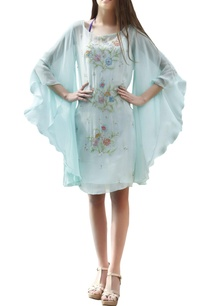 aqua-blue-dress-with-flared-sleeves