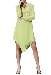 parrot-green-asymmetric-dress