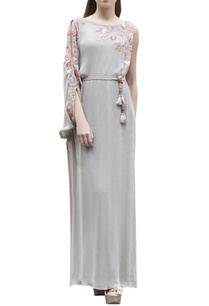 grey-one-sleeve-embroidered-maxi-dress