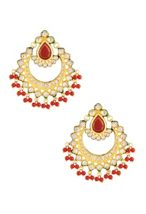 gold-polished-kundan-and-red-stone-earrings